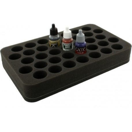 HS035P1BO 35 mm (1.4 inch) half-size Figure Foam Tray with base - 37 round compartments