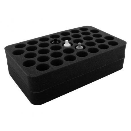 HS070P1BO 70 mm (2.75 inch) half-size Figure Foam Tray with base - 37 round compartments