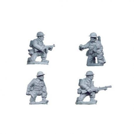 British Infantry Command & Bren Team kneeling (4 figs)