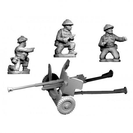 Late War British 6 pdr.Gun And 3 crew